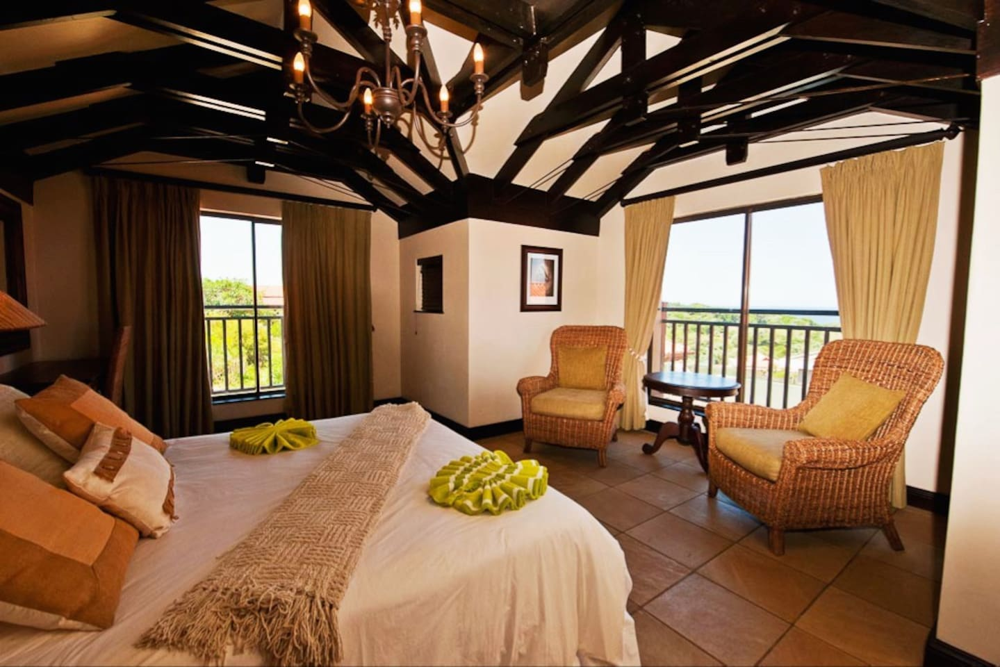 View from the attic bedroom - all 6 en-suite bedrooms have glorious views of the Indian Ocean (except for the children's bunk bedroom). Four have views of the sea and the world renown Zimbali golf course signature green.