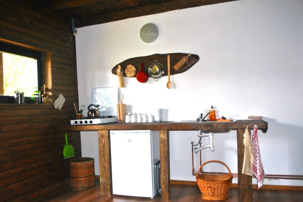 The hostels shared kitchen