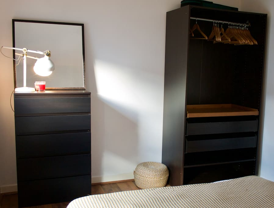 Chest of drawers, wardrobe, 1st lamp and pouffe