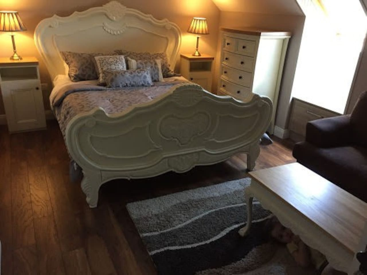 Room 2 with beautiful vintage King size french bed with top quality mattress and sofa bed to suit 2 children/1 adult. Includes ample storage with drawer unit and wardrobe. Price €70.00 room only. Breakfast is extra.