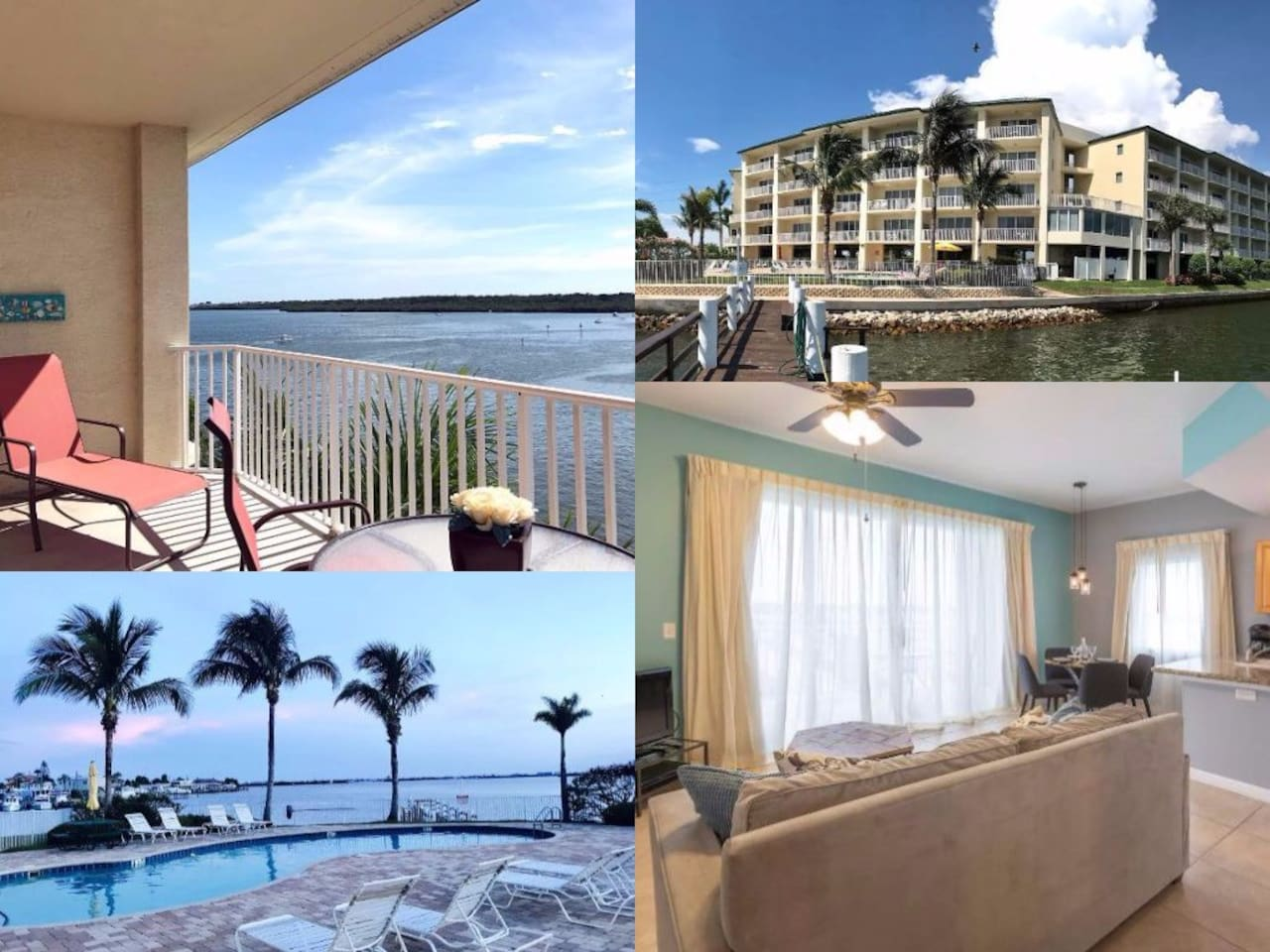 View from balcony; Condo from private dock; Private pool and hot tub; Cute interior