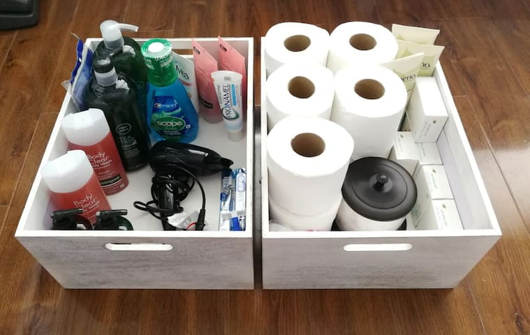 Extra toiletries, lotion and hair dryer.