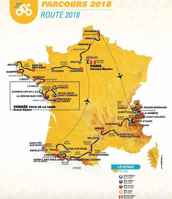 2018 Tour de France route, 4 stages in the Pyrenees near our home.