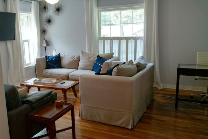 Living room with three comfy couches. Grey couch folds flat to bed.