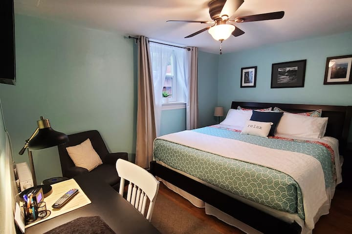 Master Bedroom with laptop friendly desk.