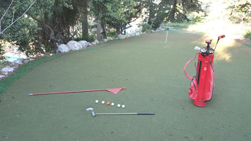 A professional putting green in the garden