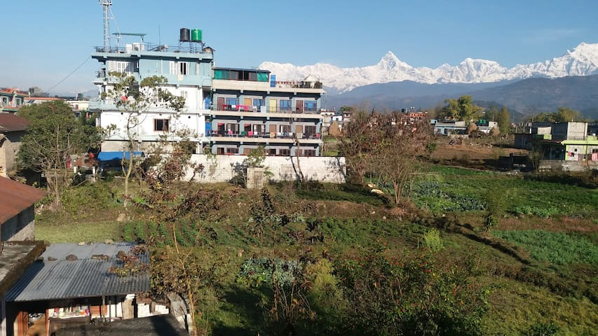 Mountain range of Annapurna and lakes.