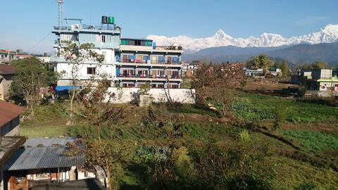 Mountain range of Annapurna and lakes.