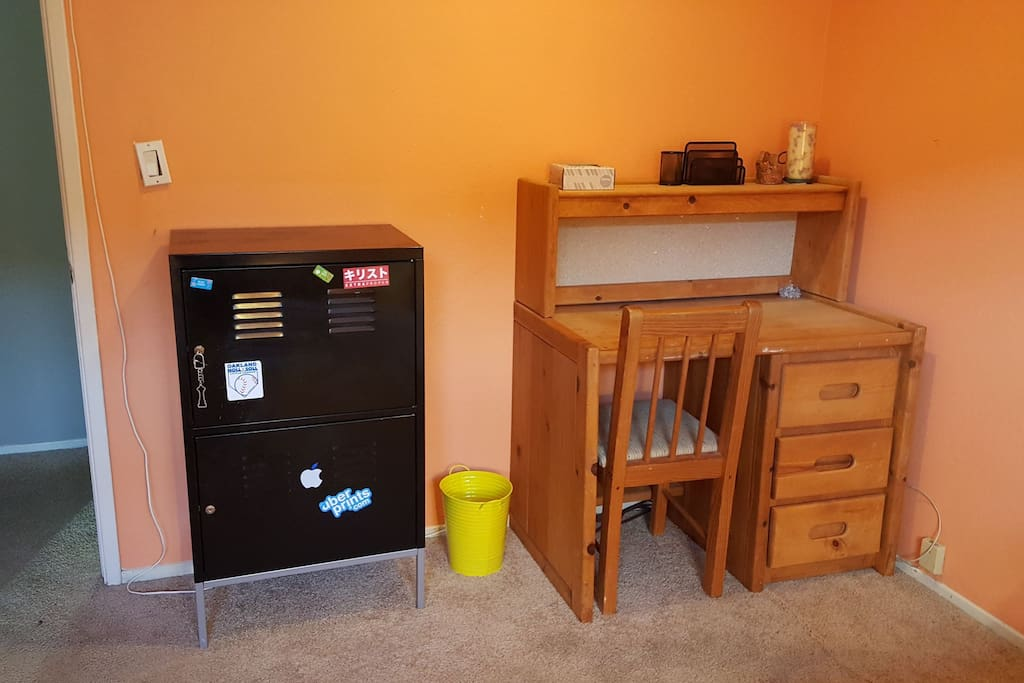 Desk and in-room locker with key