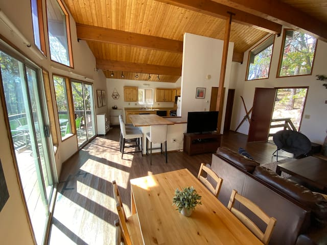 high vaulted ceiling provides a spacious feel in a treehouse setting