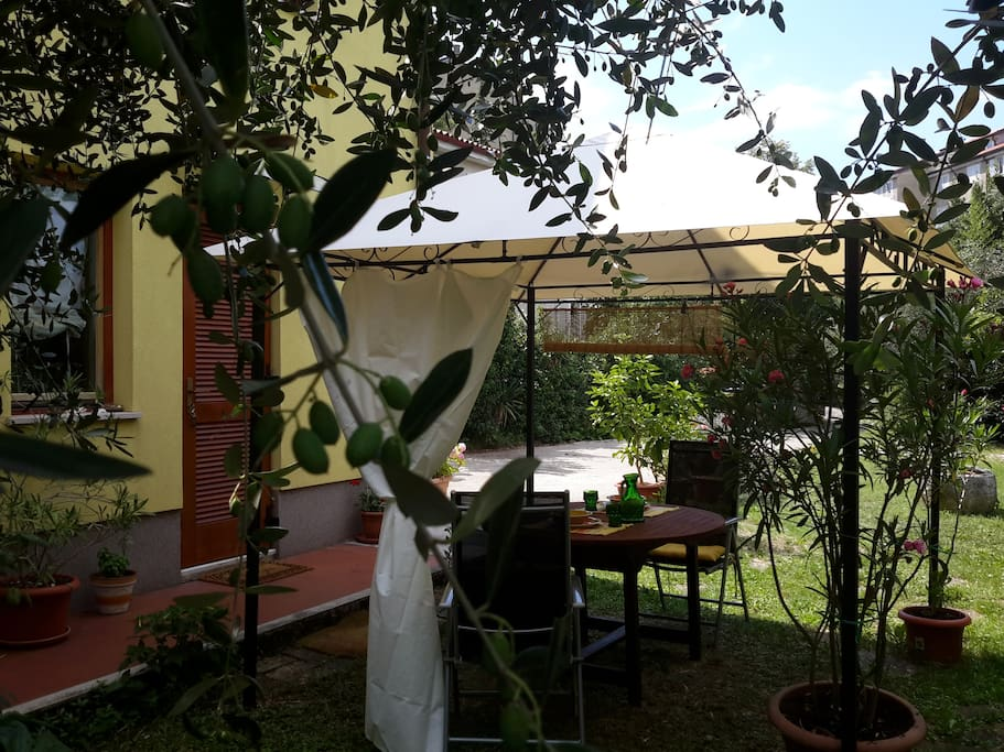 Entrance door and garden table