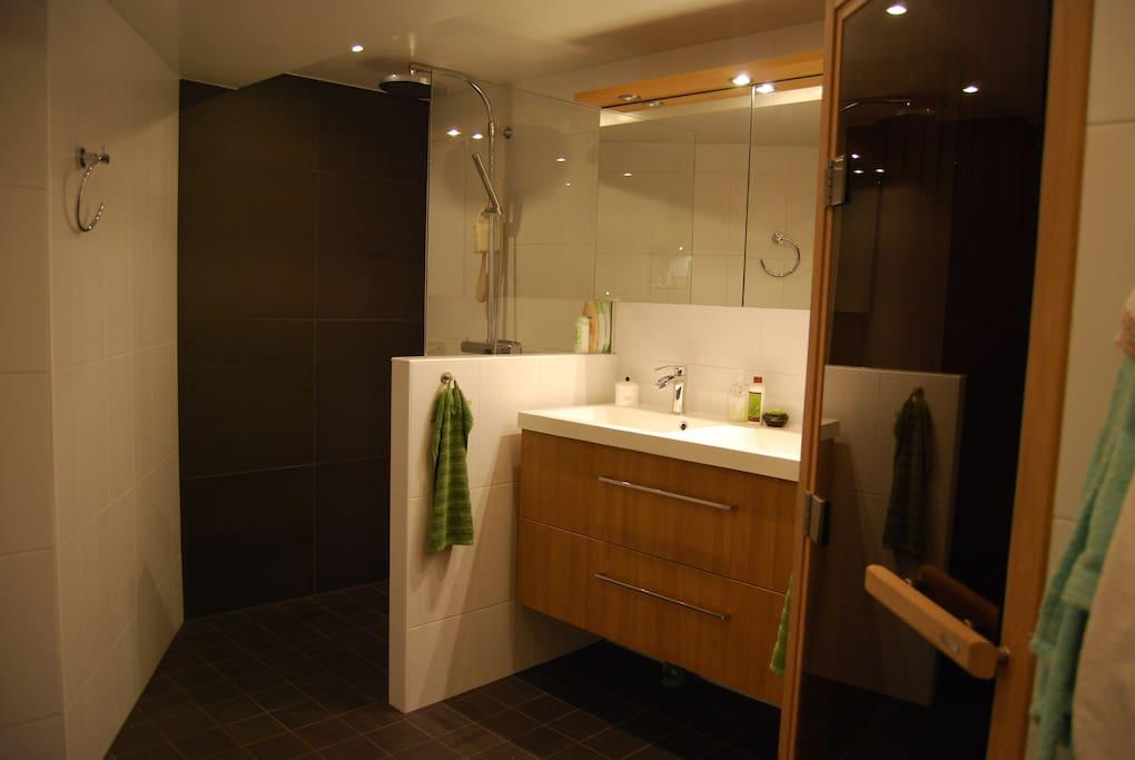 Badrum i källaren med bastu, badkar och stor dusch