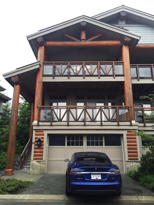 Front view with double garage
