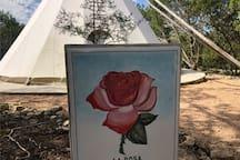 Sign for La Rosa tipi
