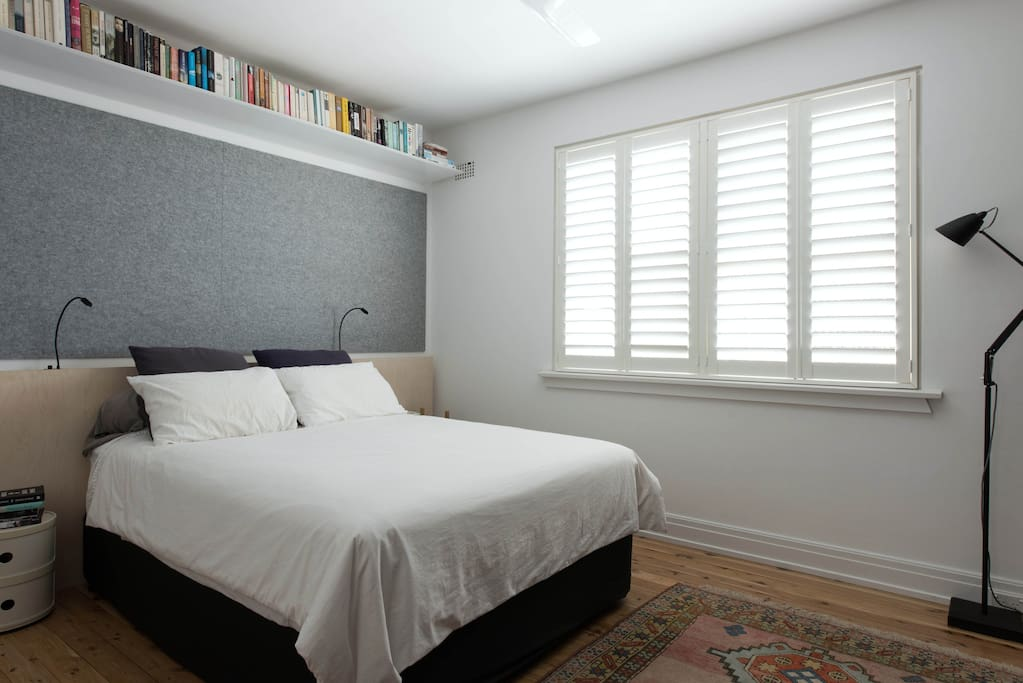 Sunny bedroom with new queen bed