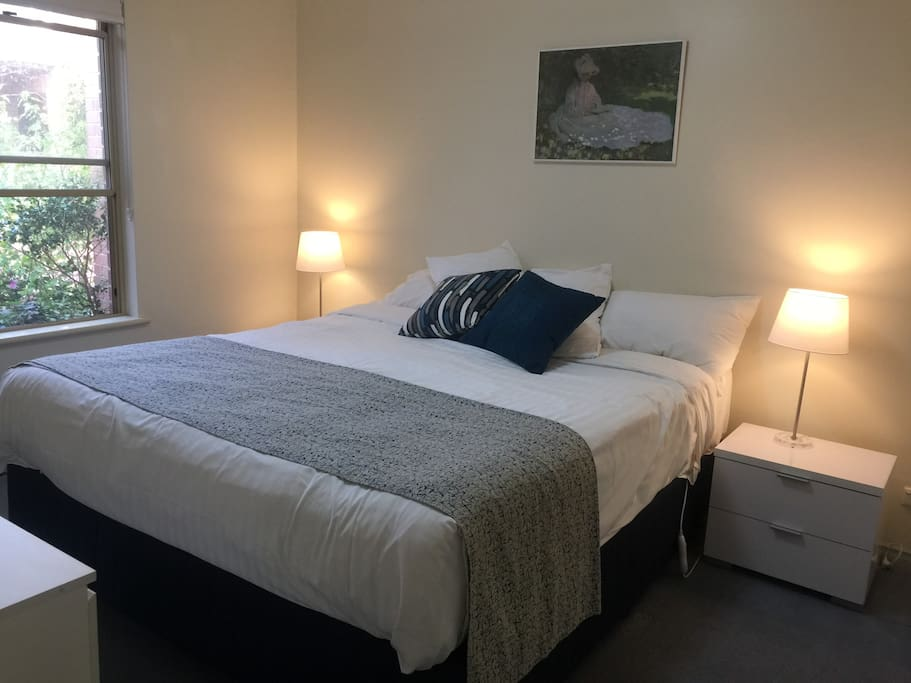 King size downstairs bedroom, electric blanket, wall mount TV/DVD and combination room safe