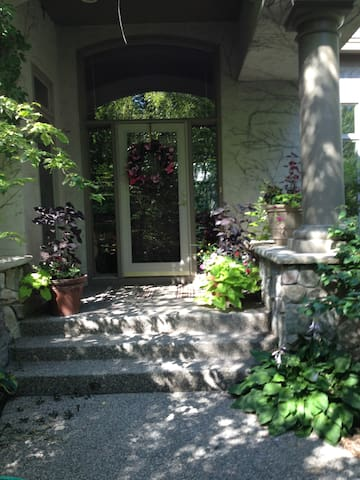Front Entry.  Ann's plantings everywhere.