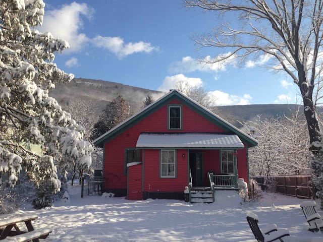The backyard of Bear Cottage in winter.  (This is a registered STR of Ulster county certificate of authority #9167. )