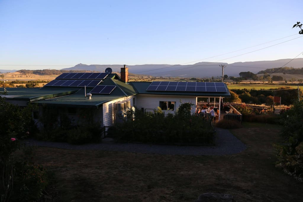 Evening light over the Farmhouse and Great Western Tiers