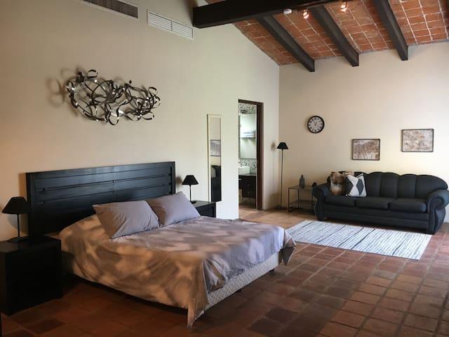 Habitación #2, con cama doble y sofá cama, acceso al baño privado al fondo.