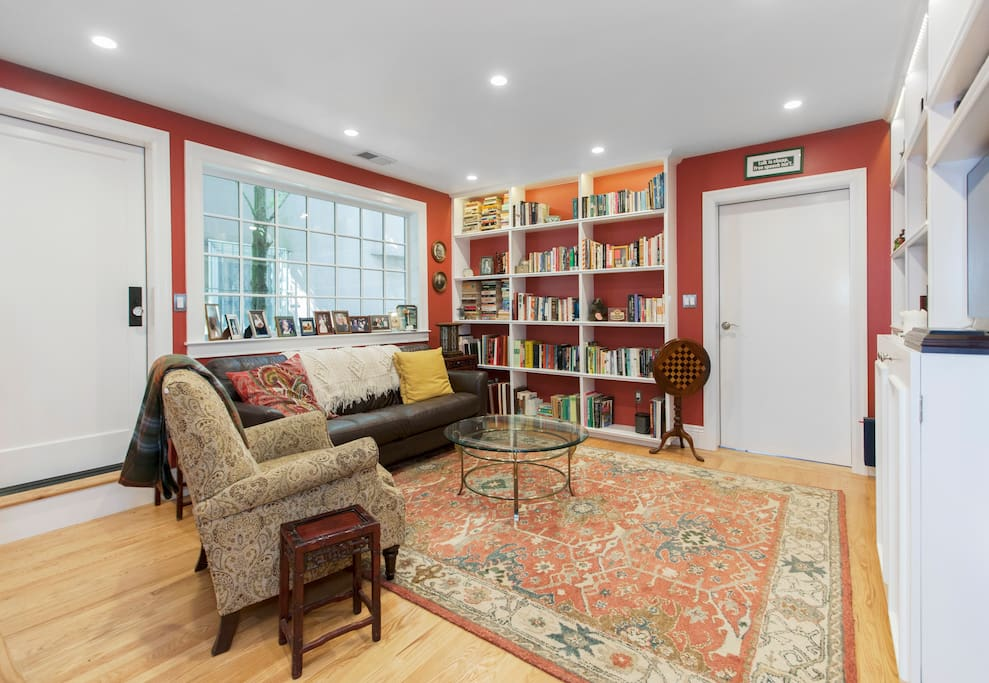 Family room. Guests are welcome here during the day. Separate entrance for guests is to the left of the easy chair.
