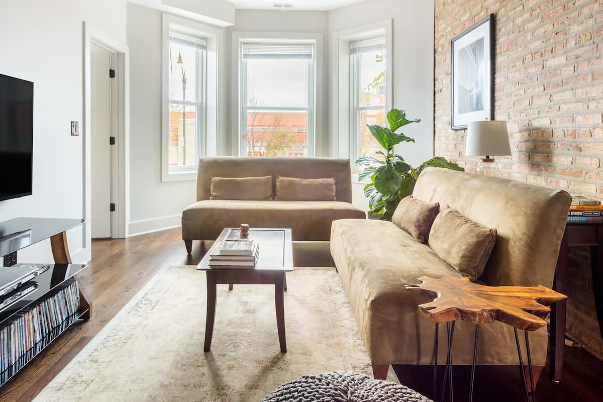 Soft Suede and Warm Bricks at a Stylish Rogers Park Home