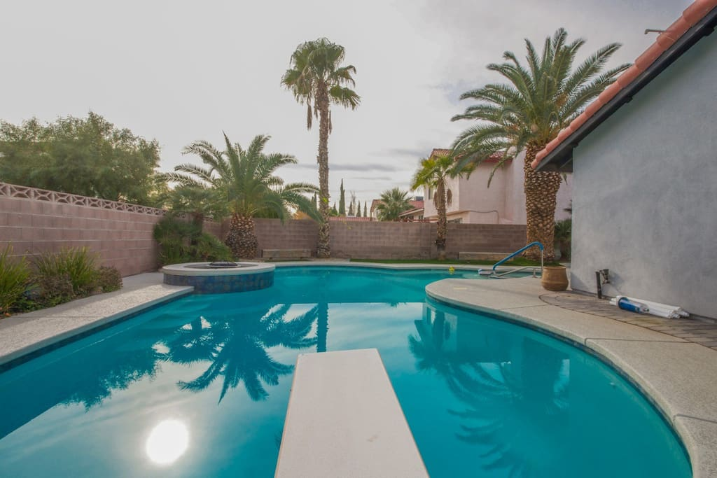 Backyard filled with gorgeous palm trees, heated pool/spa, patio and seating area- ideal for entertaining!