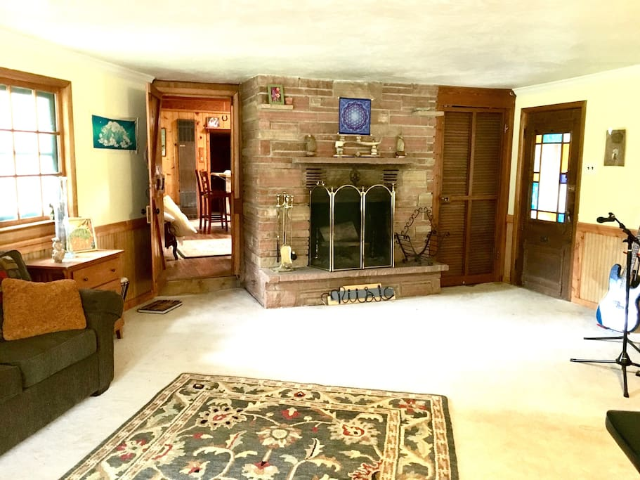 Private entrance and fireplace.