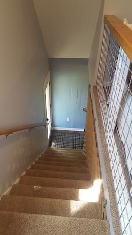 Stairway up to Bathroom, Living Room and Bedroom