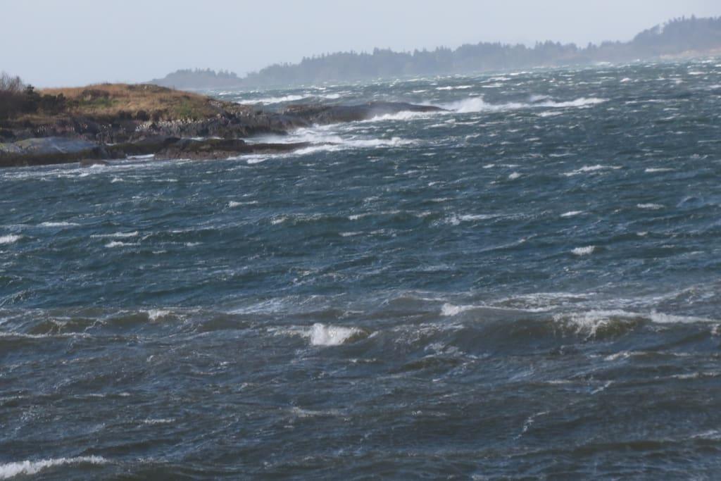 Waves lashing the coast.