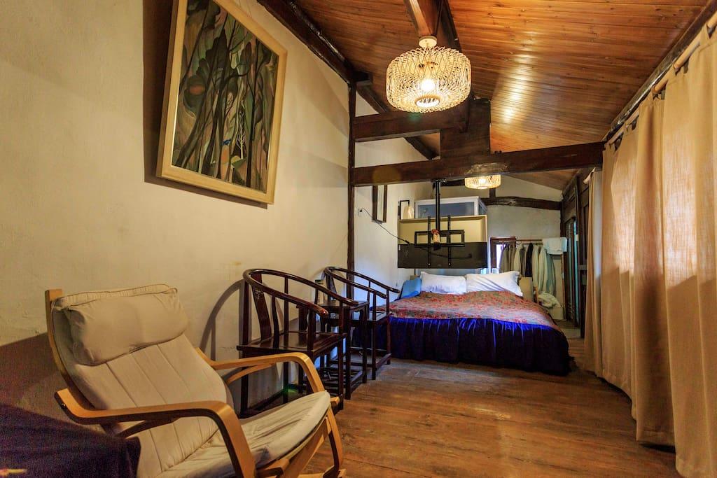 四间大床房,装修古雅安静舒适