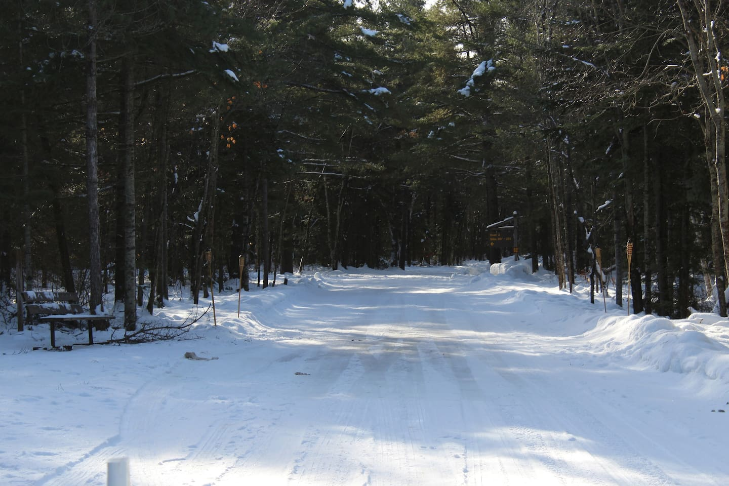 Arrowhead Provincial Park Skating Trail 1.3 km loop. Lit up with tiki torches on special nights. Subject to weather condition