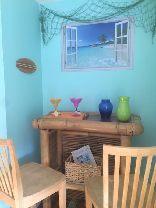Tiki bar in kitchen/dining area