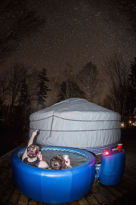 Enjoy a hot tub on your deck and gaze at the stars for a surcharge of $45 plus tax.
