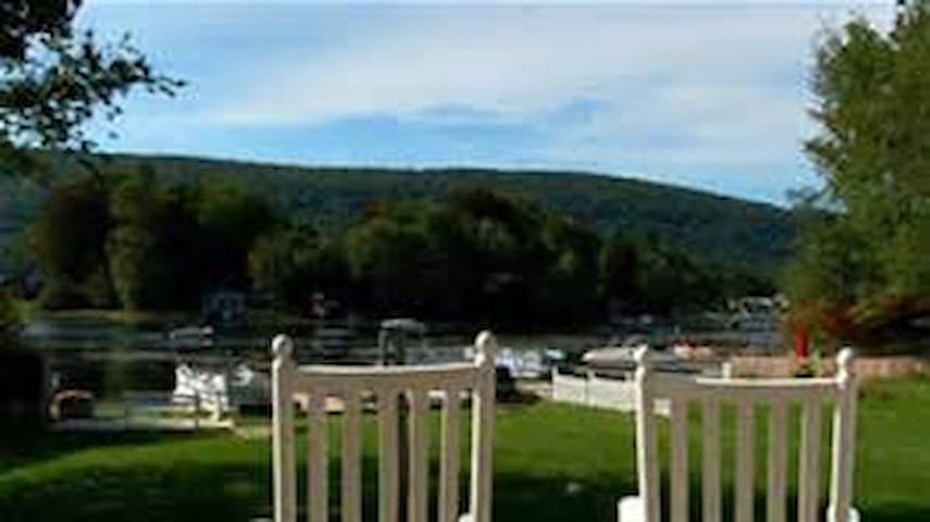 Off our rockers on Greenwood Lake! The view from one of our many decks.
