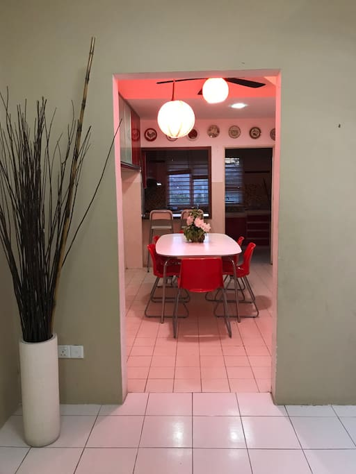A separate dining and living area