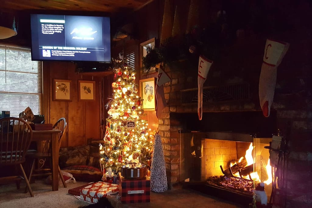 Christmas in Big Bear. Sit by the fire, enjoy the Christmas spirit, snow and recliners