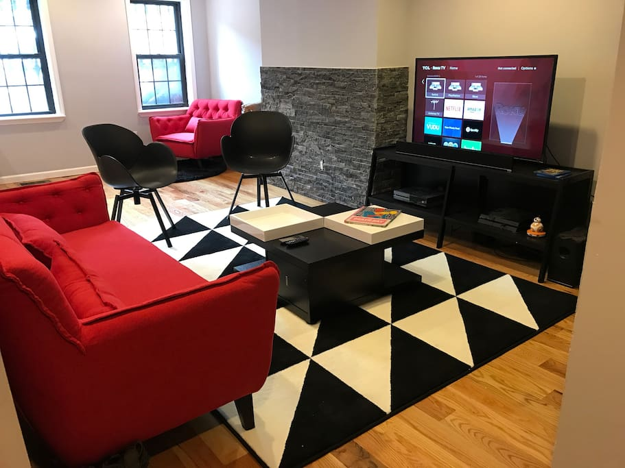 """TV Room has a 48"""" HDTV with PS4, XBOX ONE and Nintendo Switch. It also has Netflix, Hulu, HBO Go and WWE Network."""