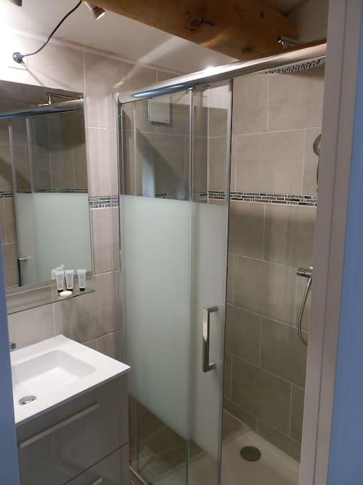 Salle de bain indépendante avec douche et WC au même niveau.
