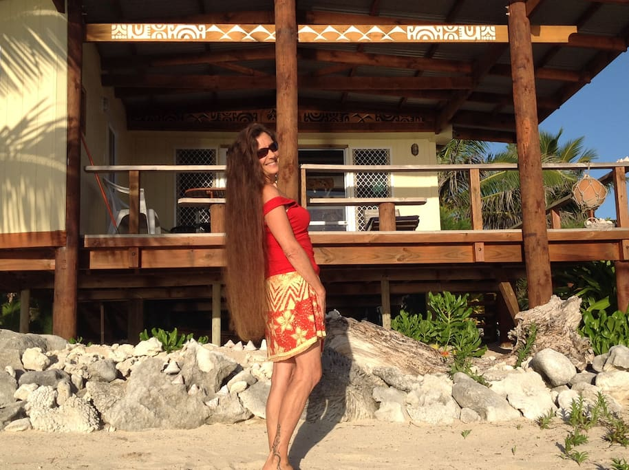 Kanoe(director) In front of #1 Kota'a Nui Beachfront unit