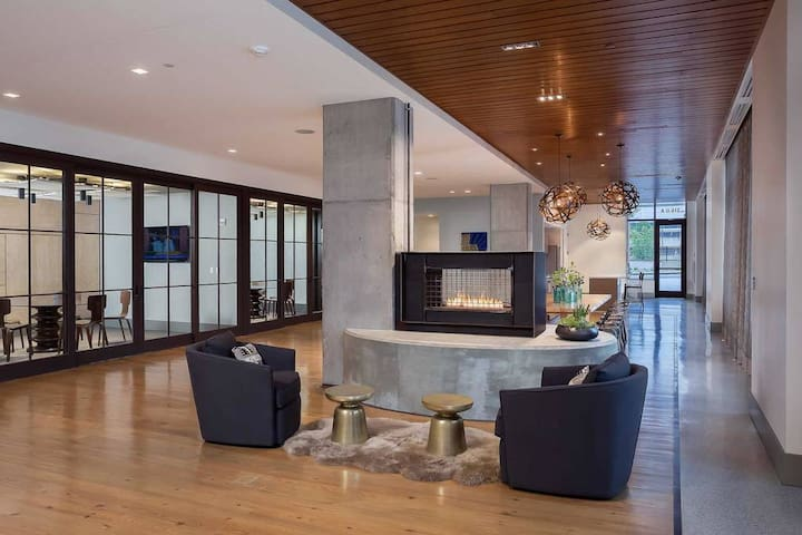 Entryway fireplace and conference rooms