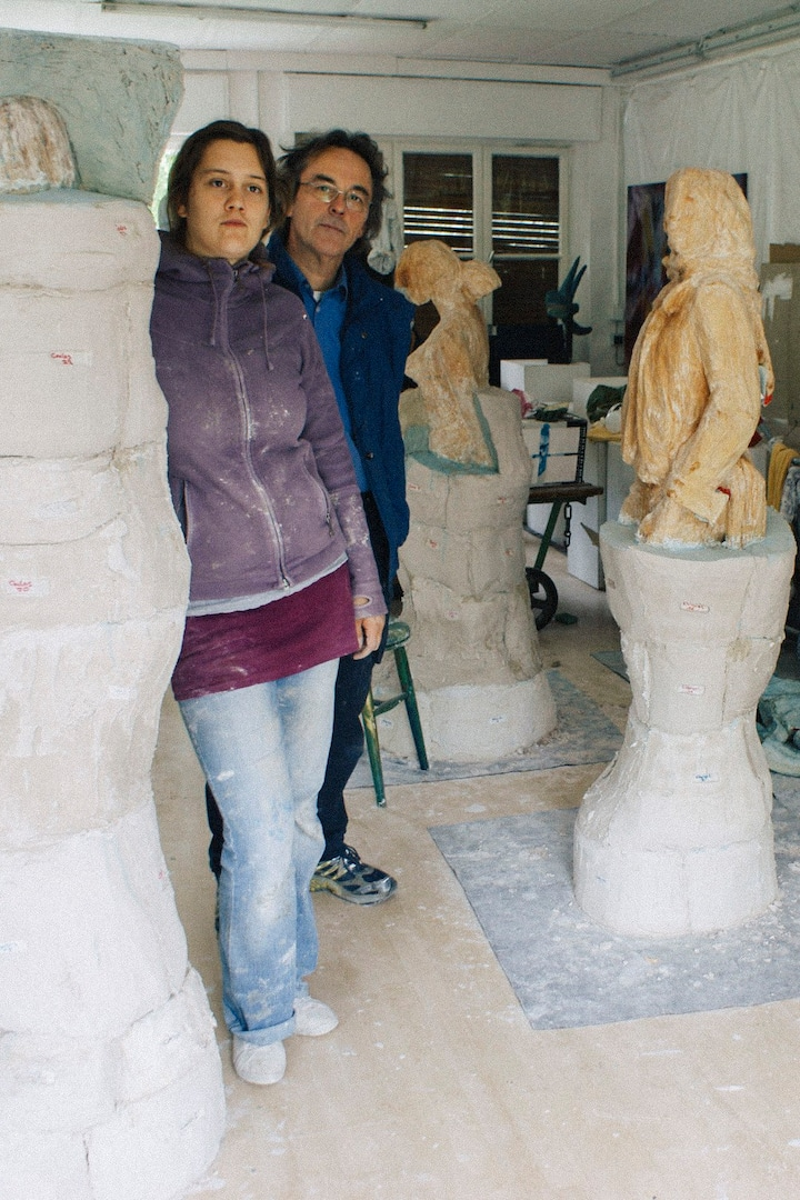 Lisa and Peter with the sculptures