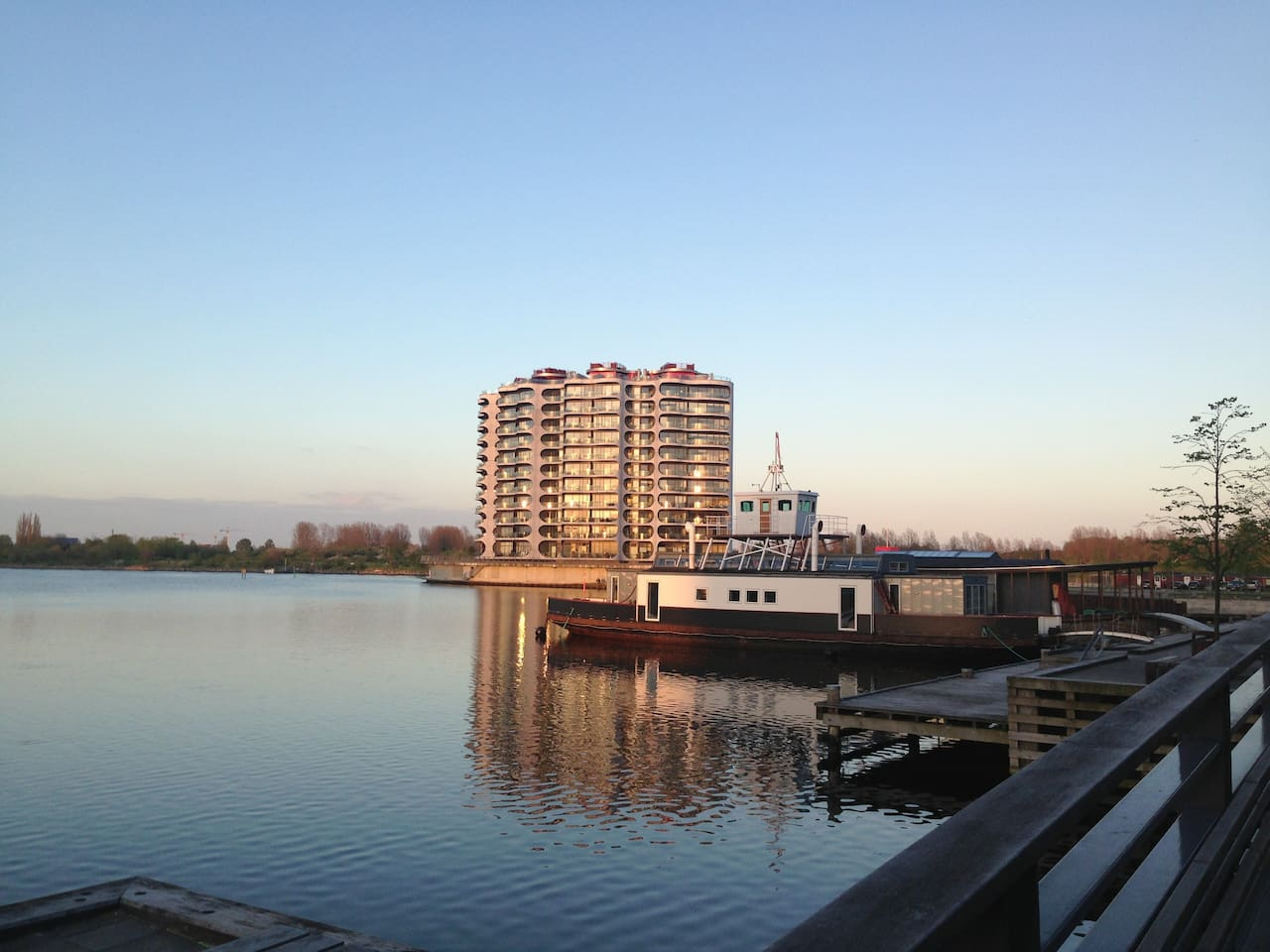 Our lovely building - sorrounded by water