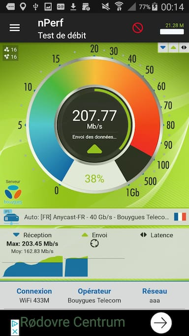 Dual band WiFi with the Ubiquiti airCube installed June 28, 2018. I'm seeing between 100 and 250 Mega bits per second on the 5 MHz frequency !   30 Mbps on the 2.4 MHz. Oui on a la fibre !