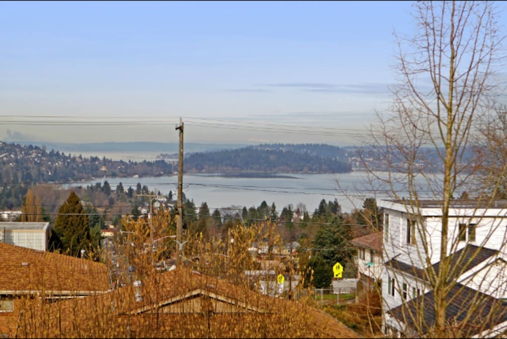Beautiful views of the city, lakes, Mt Baker and both Cascade and Olympic mountain ranges from the top of our hill. There is a grassy mall just a walk away, perfect for a picnic while taking in the scene.