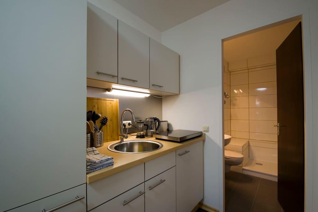 Cooking area with induction hob, microwave oven, refrigerator, washing dryer and dishwasher * Kochzeile mit Induktionskochfeld, Mikrowellenherd, Kühlschrank, Waschtrockner und Spülmaschine