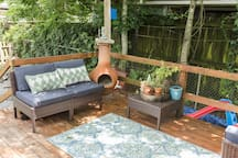 The back patio is shaded for most of the day and is a great spot to relax even on the hotter days of the year