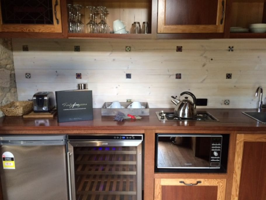kitchen with all modern appliances including a wine fridge!