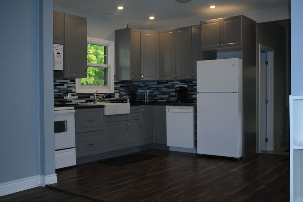 The kitchen is fully equipped with everything you need to make your meals.