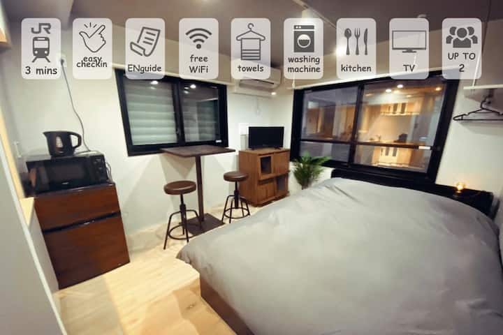 Super NEW apt/3mins to JR/Free High Speed WiFi 1-3